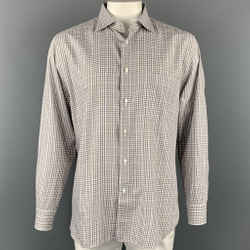 ERMENEGILDO ZEGNA Size XL White & Brown Checkered Cotton Long Sleeve Shirt