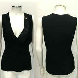 Roberto Cavalli Black Satin Silk Crystal Logo Sleeveless Top Blouse Sz Small 42