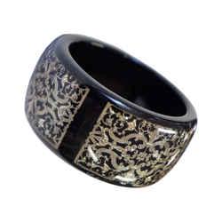 Roberto Cavalli Black Acrylic Large Bangle Bracelet Silver Gothic Detail