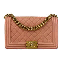 Chanel Old Medium Caviar Quilted Bag Pink Ghw