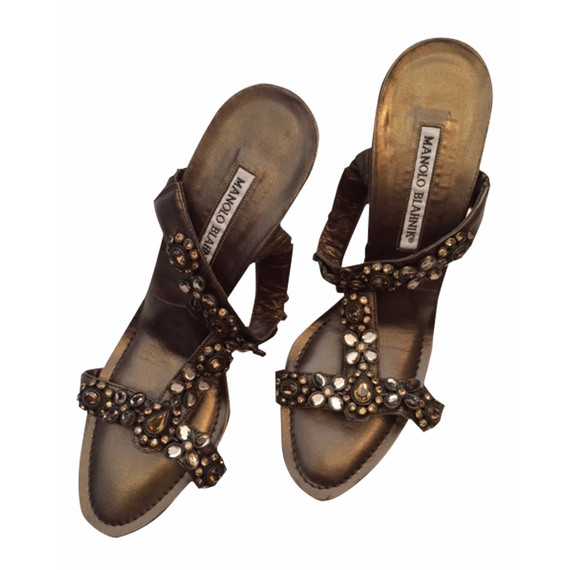 Gold Beaded Manolo Blahnik Heeled Sandals