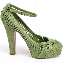 Christian Dior Green Platform Python Pump Leather Ankle Strap Bow Sz 39.5