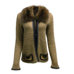 Prada Wool Blend Knit Sweater With Fur Collar