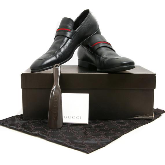 Gucci Black Leather Race Stripe Strap Loafers