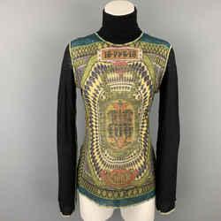 JEAN PAUL GAULTIER x BERGDORF GOODMAN Size L Black & Multi-Color Print Wool Pullover
