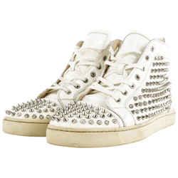 Christian Louboutin Men's Size 44 White Spike Pik Pik Louis Rantus Sneaker 462cl33
