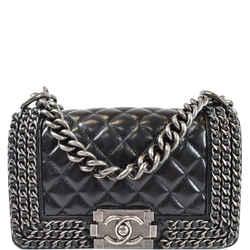 CHANEL Small Boy Embellished Chain Lambskin Shoulder Bag Black