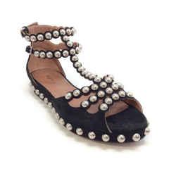 AlaIa Black Suede Studded T-strap Sandals