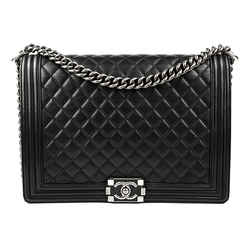 Chanel Black Quilted Lambskin Leather Large Boy Bag