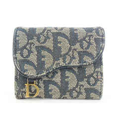 Dior    Blue Monogram Trotter Saddle Compact Wallet 11dior119