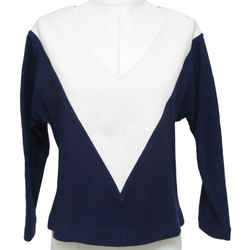 Chloe Top Shirt Knit Navy Off White Colorblock V-neck Long Sleeve Cotton Sz S