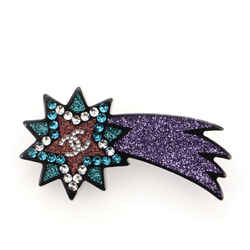 Shooting Star Glitter Resin and Metal Brooch