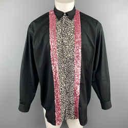 Comme Des Garcons Homme Plus Size S Black Cotton Leopard & Pink Sequin Stripe Shirt