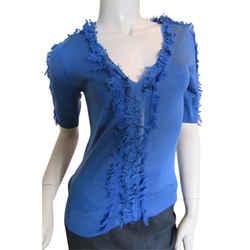 Nina Ricci Silk Blend Lightweight Short Sleeve Knit Sweater Size: 4 (s)