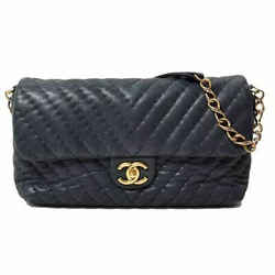 Auth Chanel V-stitch Metallic Processing Laser Chain Shoulder Gold Metal Fitting