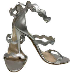 Prada Silver Scalloped Strap Sandals Size: EU 39 (Approx. US 9) Regular (M, B) Item #: 25057630