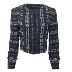 Proenza Schouler Navy Blue & Ivory Tweed Blazer Jacket