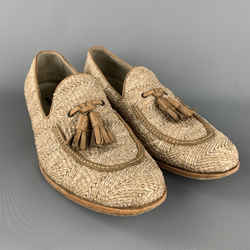 Fratelli Rossetti Size 9.5 Natural Woven Slip On Loafers