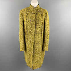 MARNI Size 4 Mustard & Black Textured Boucle Mohair Blend Coat
