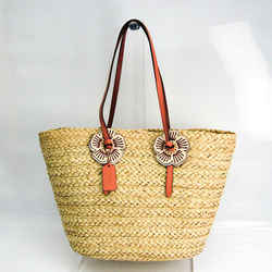 Coach With Tea Rose Woven 68610 Women's Leather,Straw Tote Bag Beige,Pi BF519152