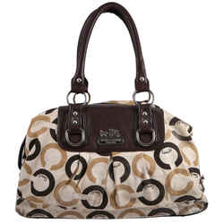 "Coach Op Art Sabrina Canvas Brown Satchel 12""L x 5""H x 4""W"