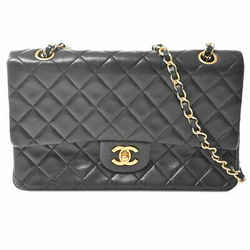 Auth Chanel Chanel Lambskin Matrasse Coco Mark W Flap Chain Shoulder Bag Black
