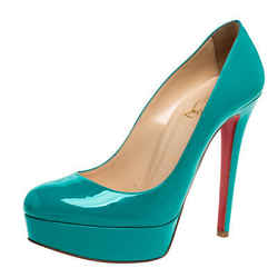 Christian Louboutin Teal Green Patent Leather New Simple Platform Pumps Size