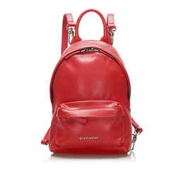 Vintage Authentic Givenchy Red Calf Leather Backpack France w/ Dust Bag