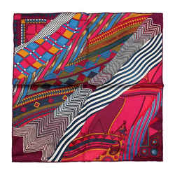 Herms Fuchsia Burgundy Coupons Indiens 90 Cm Silk Scarf