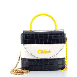 Aby Lock Bag Crocodile Embossed Leather Small