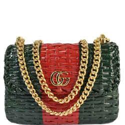 Gucci Wicker Linea Cestino Mini Web Shoulder Bag Green 524829
