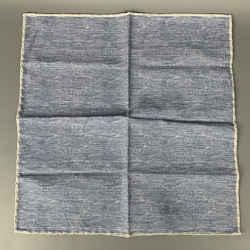 BRUNELLO CUCINELLI Blue & Grey Reversible Silk / Cotton Pocket Square