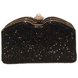 Judith Leiber Black Swarovski Crystal Minaudiere Evening Bag Clutch