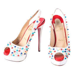 Christian Louboutin Gomme Pumps Platforms White Size 8 Authenticity Guaranteed