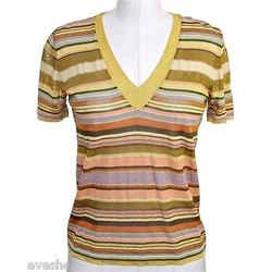 Missoni Orange Label V-neck Striped Knit Sweater Gold Top 40 Dopeek!