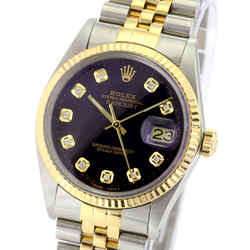 Rolex Mens Datejust Two-tone PURPLE Diamond Dial Fluted Bezel 36mm Watch
