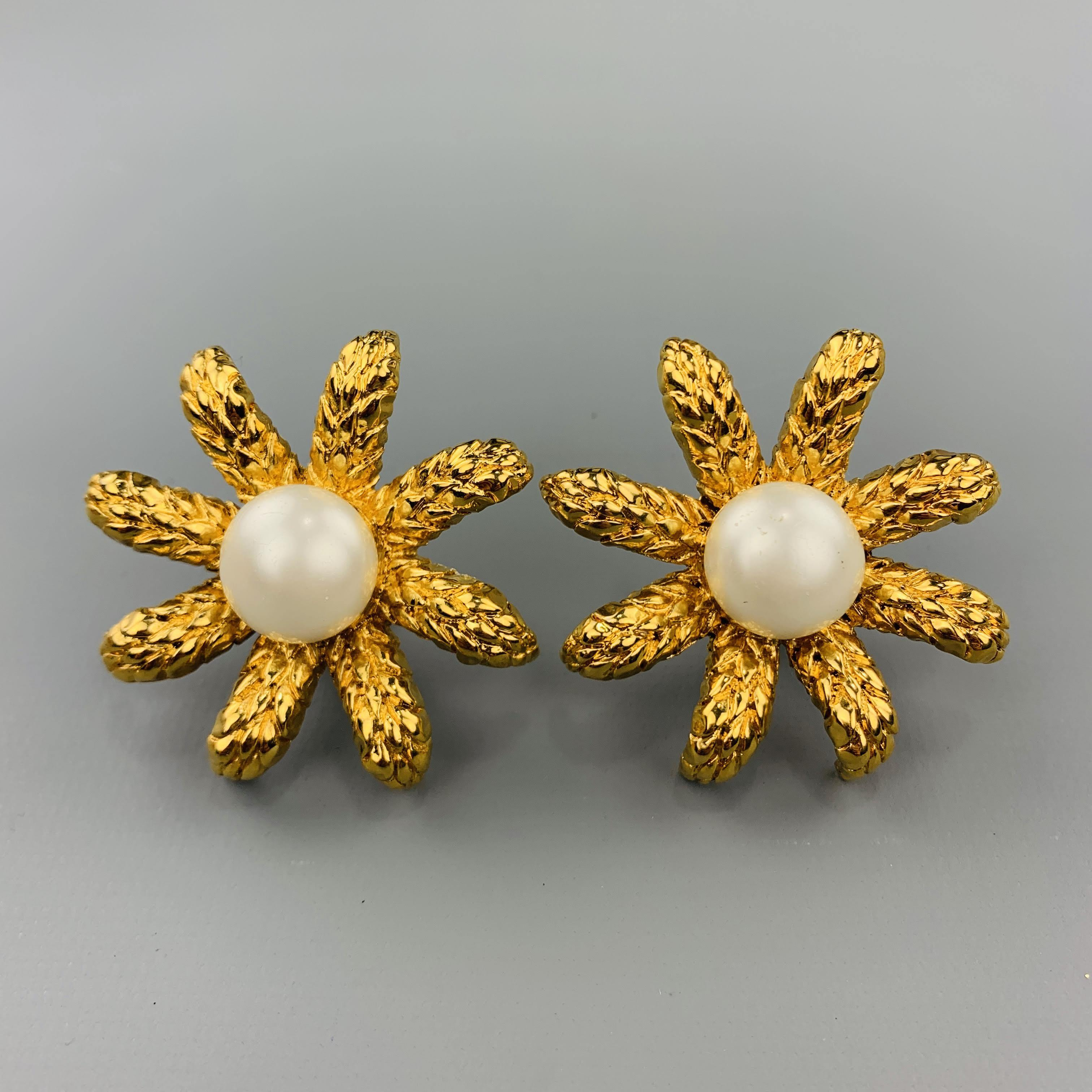 Gold Tone Metal  Clip on Earrings with Clear Coated Quartz and  Faux Pearls