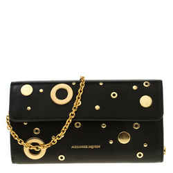 Alexander McQueen Black Leather Eyelet and Stud Wallet On Chain