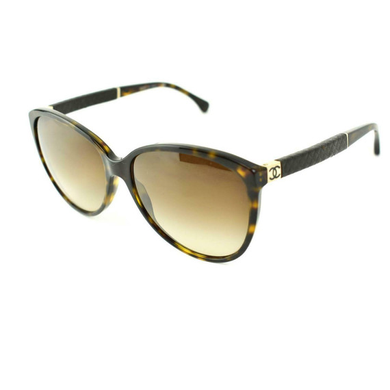 "CHANEL: Tortoise Brown, Leather & ""CC"" Logo Sunglasses (lt)"