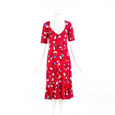 Erdem Dress Red Floral Print Scoop Neck Flounce SZ 12 UK
