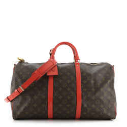 Keepall Bandouliere Bag Monogram Canvas with Coquelicot Leather Trim 50
