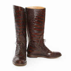Gucci Brown Croc Lace-Up Riding Boot FW2012
