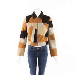Miu Miu Patchwork Suede Leather Jacket SZ 42