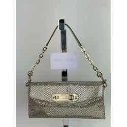 Jimmy Choo Metallic Gold Wallet on a Chain Leather Clutch Shoulder Bag B285 Auth