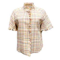 Akris Punto Multicolor Woven Short Sleeve Jacket