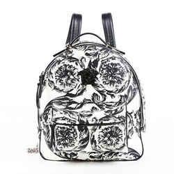 Versace Backpack Baroque Medusa Black White Leather