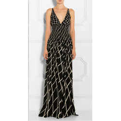 38 NEW $4200 GUCCI RUNWAY Black White SMOCKED WAIST Long SILK MAXI DRESS GOWN XS