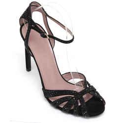 GUCCI Sandal Suede Black Crystal HALA Leather Ankle Strap Gold Buckle Sz 39.5