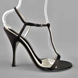 Dolce & Gabbana 10 Black Silk & Leather Rhinestone T Strap Ankle Harness Sandals