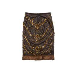 Brown Dolce & Gabbana Leather Embellished Skirt